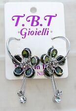 silver Orecchini con Fiori cristallo Cerchi da Donna Eleganti pendenti verde