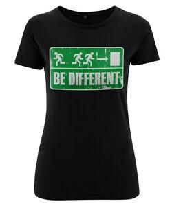 """Girly Shirt """"BE DIFFERENT"""" Punk Vintage Notausgang Indie Fluchtweg Gothic NEU"""