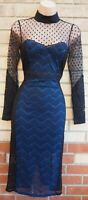NAVY BLUE LACE BLACK LONG SLEEVE SPOT MESH HIGH NECK BODYCON MIDI PARTY DRESS 10