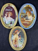 (3) 1973 Coca Cola Small Vintage Oval Mini Tin Tip Trays 6in x 4.5in