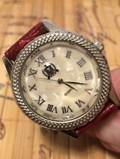 TMC Watch Womens Watches Mother of Pearl Face Dial Roman Numbers Red Leather