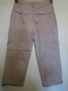BB11) WOMENS KENNY S CROPPED CREAM  STRAIGHT LEG JEANS ZIP FLY  SIZE 12  LEG 21