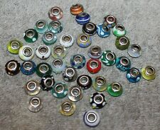 VINTAGE LOT OF 41 MURANO GLASS 925 STERLING SILVER BEAD CHARMS