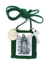 Scapular Immaculate Heart Mary Long Green Scapular 100% Wool & Medals Catholic