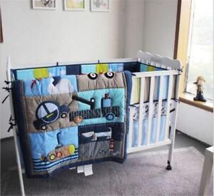 4pcs Locomotive Puppy Baby Crib Cot Bedding Set Quilt Bumper Sheet Dust Ruffle