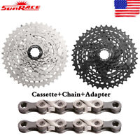"SunRace 8 Speed 11-40T MTB Bike Cassette 1/2"" X 11/128"" Chain fit Shimano SRAM"