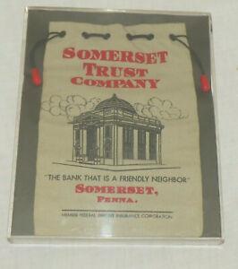 Somerset Penna Trust Company Vintage Cash Deposit Bag - Framed for Display