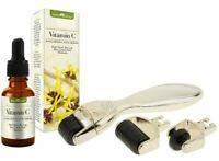 Microneedle Derma Roller 3 in 1 Gold Set & Vitamin C Serum w/ Hyaluronic Acid