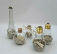5 Coastal Sea Decorative Mini Glass Bottles with California Sand & Shells