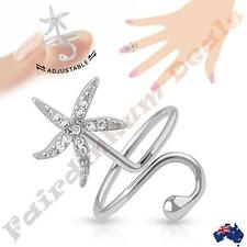 Silver Rhodium Plated Adjustable Nail Ring with Multi Gem Starfish