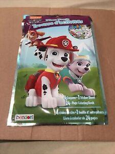 New Nickelodeon Paw Patrol Play PackColoring Book Crayons Sticker Sheet