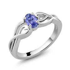 0.45 Ct Oval Blue Tanzanite 925 Sterling Silver Women's Solitaire Ring