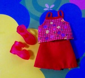 Kelly Chelsea OOAK Small Doll Clothes *Mattel Red Flowered Skirt Outfit & Shoes*
