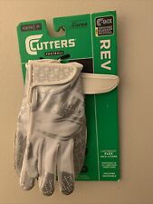 New listing Cutters Rev 2.0 Football Gloves, White / Silver- Size Youth Medium