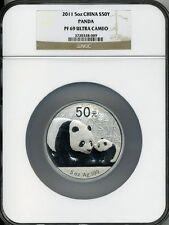 2011 5 oz  SILVER CHINA PANDA NGC PF 69 UCAM S 50 YUAN INCLUDES COA!!