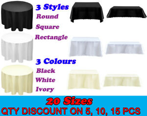 1 5 10 15 Tablecloth Black White Ivory Table Cloth Cover Wedding Party Tableware