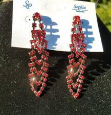 """Sophia Red Rhinestone Lightweight Chandelier Earrings (Pierced) 2 3/4"""""""