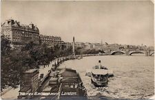 London, Thames Embankment, River Scene - used postcard