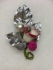 Vintage Mercury Glass Bell Pinecones Silver Leaves Corsage