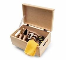 Shoe Care Set Kit Wooden Box Verona Style Valet Box, Kaps Water-Based Shoe...