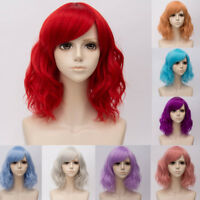 Women Christmas Cosplay Wig Lolita Bangs Ombre Hair Wavy 35CM Lady 8 Colors