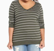 Torrid Olive Green Striped 3/4 Sleeve Tee 00x Med Large 10 #77785
