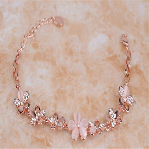 Fashion Ladies Lovely 18K Rose Gold Plated Opal Crystal Bracelet Jewelry H459