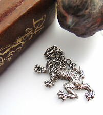 ANTIQUE SILVER Rampant Dragon LION Stamping ~ Griffin Finding (FB-6055)