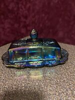 Vtg Indiana Blue Iridescent Carnival Glass Harvest Grape Butter Dish with Lid