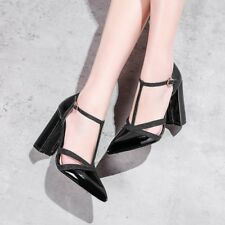 Womens Pointed Toe Buckle T-strap High Heels Pumps Party Patent Leather Shoes Sz