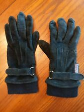 Vintage strap Thinsulate Leather Woman Gloves Black small pig suede c40 lining