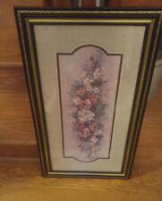 000 Vintage Home Interiors Barbara Mock Floral Gold Edge 27x15 Artwork Print