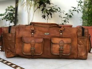 "Leather Vintage Duffel 6 Pocket Travel Gym Weekend Overnight Bag 30"" Men Genuin"