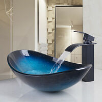 US Oval Glass Bathroom Blue Basin Container Vessel Sink Mixer Black Faucet Drain