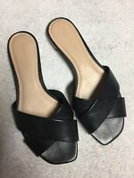 Saks Fifth Avenue Women's Black Leather Slip On Slides Casual Sandals Size Sz 8