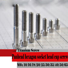 5pcs Titanium M6 *10-65mm Screws Pan Head Bolts Hexagon Socket Head Cap Screws