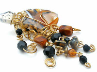 Brown Banded Agate Brooch Pin Gold Tone Vintage Artisan Made Fashion Jewelry