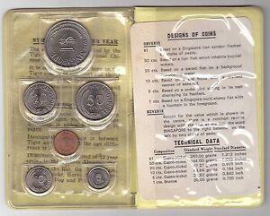 SINGAPORE - 6 DIF UNC COINS MINT SET: 1 CENT - 1$ 1974 YEAR ANIMALS