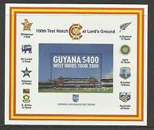 GUYANA 2000 LORD'S CRICKET 100th CENTENARY TEST MATCH Souv Sheet MNH