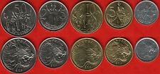 Ethiopia set of 5 coins: 1 - 50 santeem UNC
