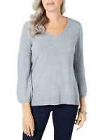 Karen Scott Women's Large V-Neck Puff-Sleeve Sweater Grey New with Tags #14