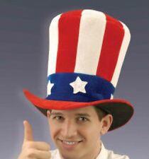 PATRIOTIC JUMBO VELVET TOP HAT Uncle Sam Stars Stripes USA Flag Adult Tall Funny