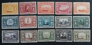 """RARE 1939 Honduras lot of 15 Pictorial postage stamps """"MUESTRA"""" O/P Mint"""