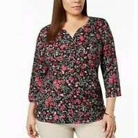Karen Scott Plus Vneck Floral Top 1X 2X