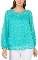 Alfani Women's Blouse Bright Green Large L Textured Sheer Jewel Neck $74 #352