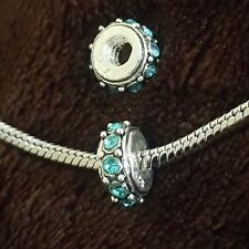 Threaded 925 CZ Blue Crystal Slide Bead for Silver European Style Charm Bracelet