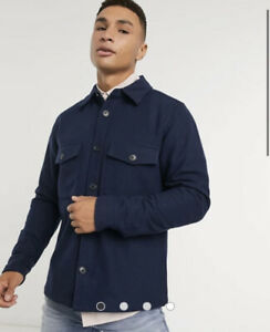 CALVIN KLEIN WOOL OVERSHIRT WITH CHEST POCKETS NAVY SIZE L BNWT