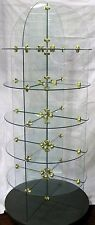 Commercial Retail All Glass & Brass Rolling Display Shelves 6 Shelf Round Unit