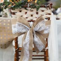 1/50 Hessian Burlap Sashes Lace Rustic Wedding Chair Sash Bows Event Chair Decor