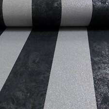 P&S Carat Glitter & Stripes Luxury Wallpaper Black & Silver 13346-40